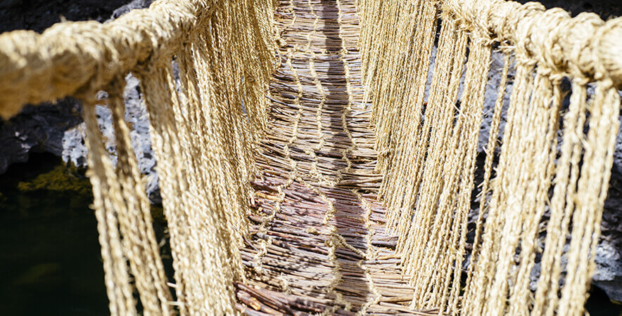 Rope Andean women fiber vegetable bridge Qeswachaka