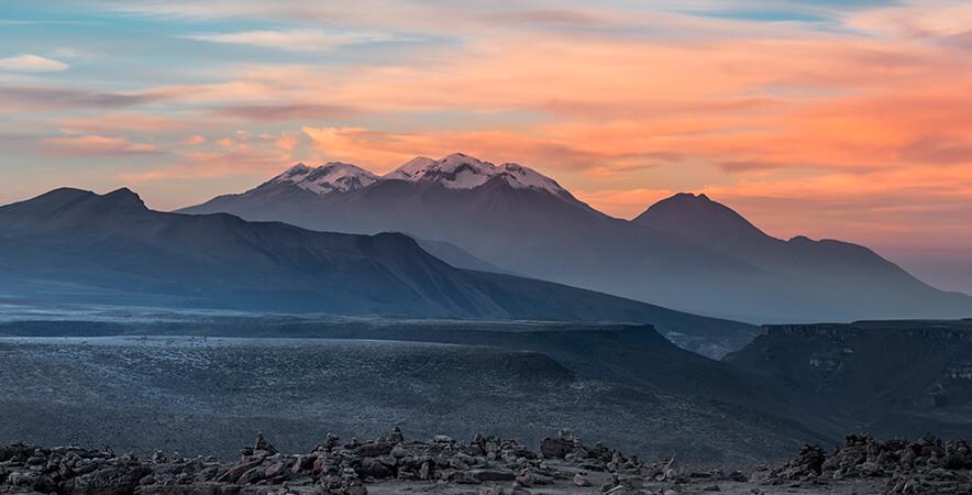 Sunrise volcano Pichu Pichu snow top Arequipa